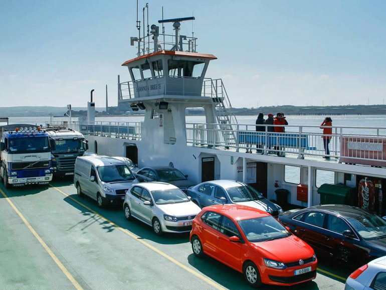 Cars aboard The Shannon Ferry from Tarbert