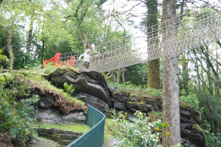 rope bridge at Kells Bay House and gardens