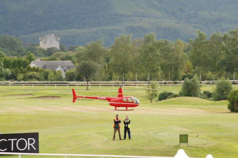 helicopter at Killarney racecourse