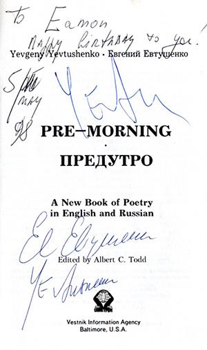 Yevtushenko at Féile na Bealtaine signature